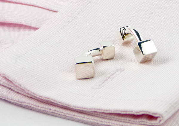 Cube Dumbbell Cufflinks on Pink Shirt Cuff
