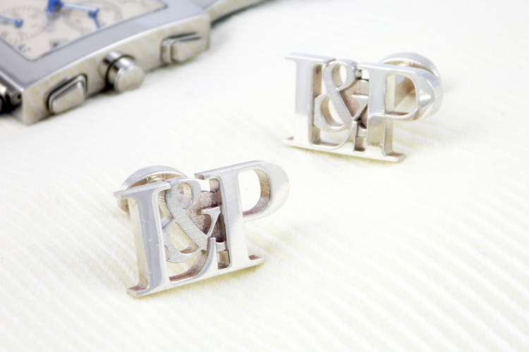 Personalised initial wedding cufflinks silver - Traditional Wedding Anniversary Uk